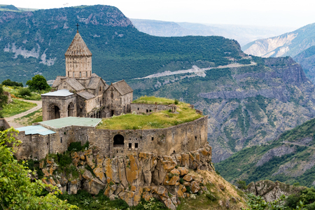 The Tatev Monsastery sits on a rock promontory overlooking a long valley