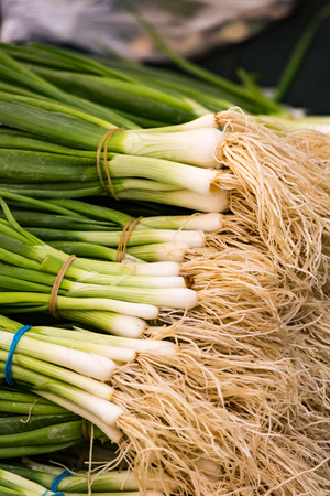 A table is filled with scallions (aka green onions) for sale at a market in Istanbul
