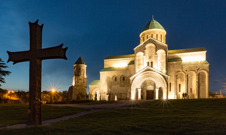 Bagrati Cathedral was built in the 11th century in Kutasi, Georgia during the blue hour 新聞圖片