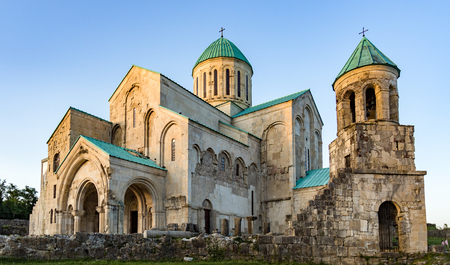 Bagrati Cathedral was built in the 11th century in Kutasi, Georgia at sunset