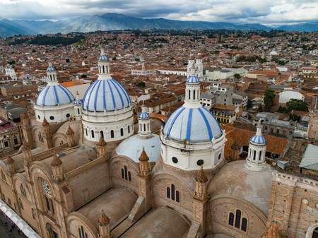 Historic New Cathedral in center of Cuenca, Ecuador was large enough to house 90% of the population of Cuenca when it was designed. The church took 90 years to complete construction, finally opening in 1975. Editorial
