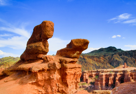 Charyn Canyon in Kazakhstan have deep colorful ravines and many stones that resemble animals with a little imagination