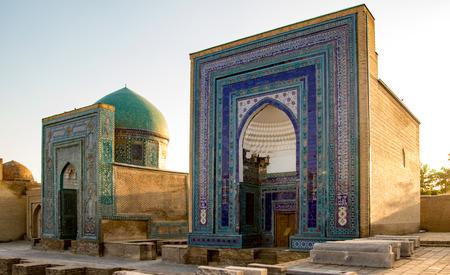 Front view of madrassa in Samarkan, Uzbekistan Редакционное