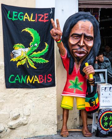Cuenca, Ecuador - Dec 31, 2012: Bob Marley Mannequin Protests Marijuana Laws Editorial