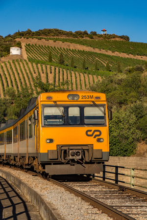 Duoro Valley, Portugal - July 1, 2017: Train travels in front of vineyard