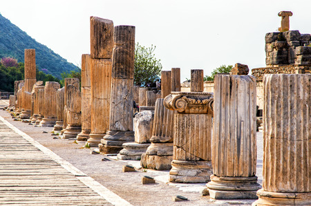 Ephesus was built in the 10th century BC, and continuously occupied until the 15th century AD. Stock Photo