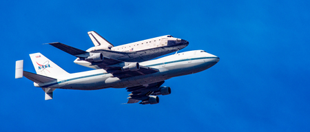 NASA 747 carries Space Shuttle Endeavor on last flight to Los Angeles, Calif on Sept 21, 2012
