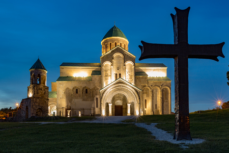 Bagrati Cathedral was built in the 11th century in Kutasi, Georgia during the blue hour 版權商用圖片