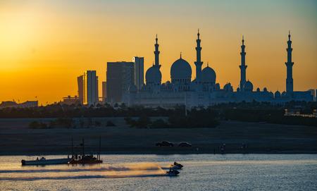 ABU DHABI, UAE,  Sheik Zayed Mosque as seen at night
