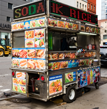 New York City, New York, Feb 15, 2018: Food vendor cart in New York City