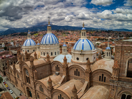 New Cathedral in center of Cuenca, Ecuador, Dec 24, 2017 - It was large enough to house 90% of the population of Cuenca when it was designed. The church took 90 years to complete construction, finally opening in 1975. Editorial