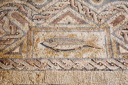 Floor tiles in Kourion, Cyprus have recently been restored Foto de archivo