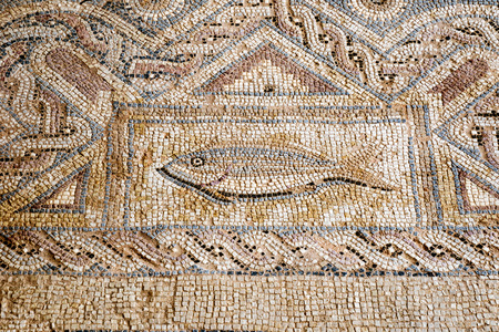 Floor tiles in Kourion, Cyprus have recently been restored Standard-Bild