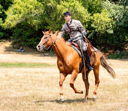 Duncan Mills, California - July 14, 2012: Confederate soldier on horseback during Civil War Reenactment