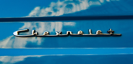 Havana, Cuba, Nov 21, 2017 - 1950s Classic American Blue Chevrolet