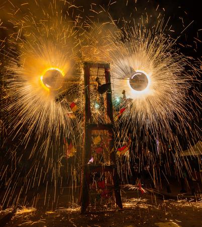 Wild fireworks are common at Ecuadorian celebrations