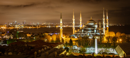 Blue Mosque in Istanbul, Turkey at night