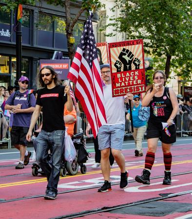 SAN FRANCISCO, CALIFORNIA, JUNE 24, 2018:  GAY PRIDE PARADE - Black Lives Matter group marches