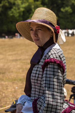Duncan Mills, Calif / July 14, 2012: Woman in Period Dress for American Civil War Stock Photo - 117318183