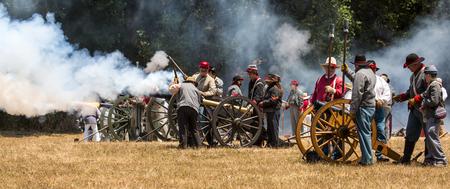 Duncan Mills, Calif  July 14, 2012: Men fire canon during Civil War Reenactment