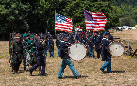 Duncan Mills, Calif  July 14, 2012: Men march in Union Army Uniforms during Civil War Reenactment