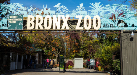 New York, New York / Nov 4, 2014: Entrance to the Bronx zoo