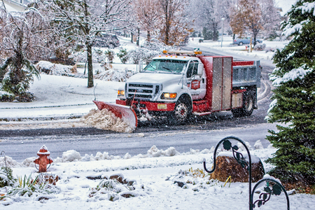 East Hannover, NJ / Nov 2014 - City truck plows snow from roads in town