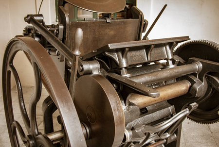 Antique printing press has been renovated for display in a Galapagos museum 版權商用圖片