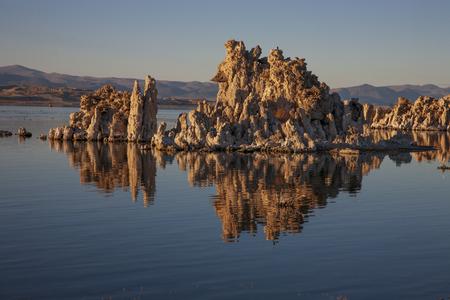 Tufa at Mono Lake, California reflected in lake