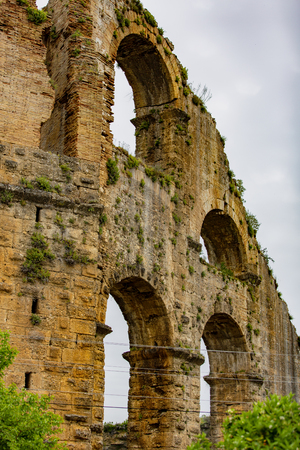 Ancient Roman aqueduct in the village of Belkis, Antalya, Turkey