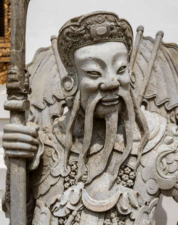 Chinese Warrior Guardian Statue At the Wat Pho Temple in Bangkok, Thailand Stok Fotoğraf