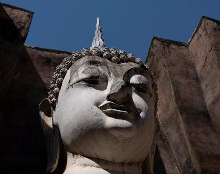The Head of Giant Buddha at Ayuthaya, Sukothai Thailand Stok Fotoğraf