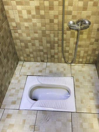 Asian Squat Toilet Shown in Tiled Restroom