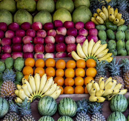 Watermelon, Banana, Orange, Pineapple and Other Fruit on Farmer Stand