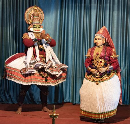 Munnar, India - Mar 11, 2018: A traditional Hindi theater play shows a jealous God being killed in India