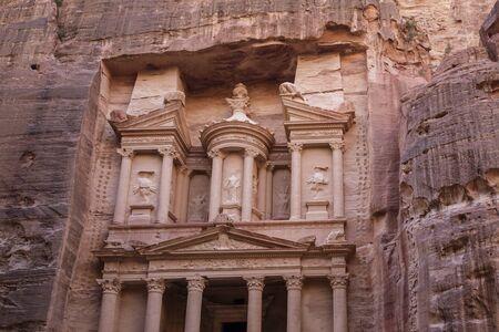 The Treasury at Petra Ruins in Jordan at night