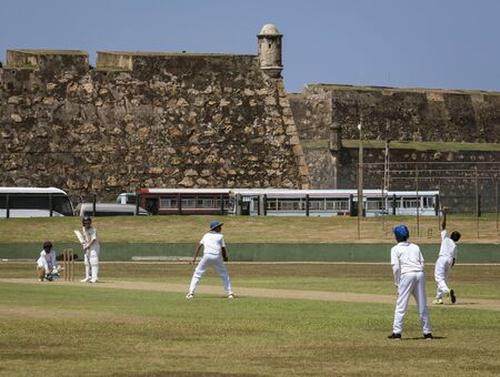 Galle, Sri Lanka - 2019-04-01 - STeenagers Practice Cricket Under League Coach Supervision.