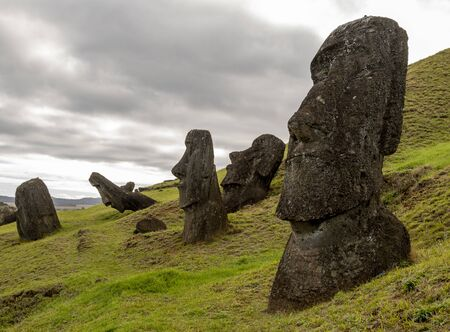 Moai Statues on Easter Island at the Rano Raraku Quarry.