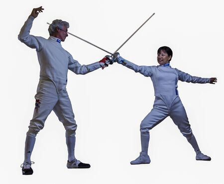 Two fencers demonstrate salute stance on Mar 20, 2011