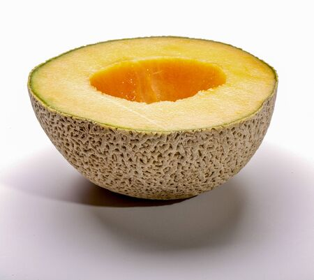 Half cantaloupe, cleaned and ready to eat