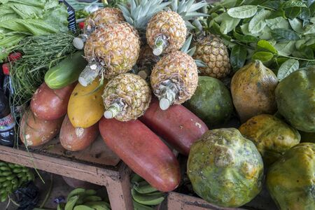 Pinneaples and other produce at farmers market