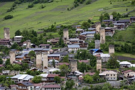 Skyline of Mestia, Georgia, where Medieval battle towers still stand throughout the city