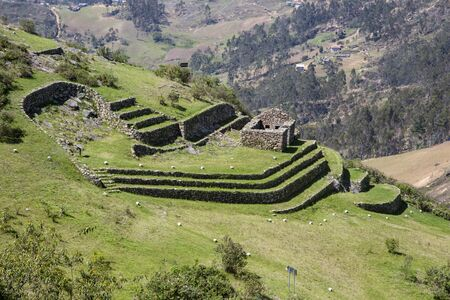 Inca ruin at Cojitambo in Ecuador old