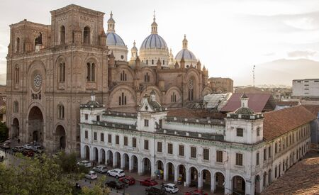 Overview of New Cathedral, showing entire street block, in Cuenca, Ecuador