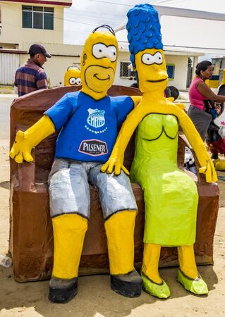 Salinas, Ecuador - December 31, 2015 - Manijotes, or paper mache manniquins are made to be burned at midnight on New Years Eve in Ecuador