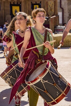 Penedono , Portugal - July 1, 2017 - Female drum corps plays in annual Medieval fair