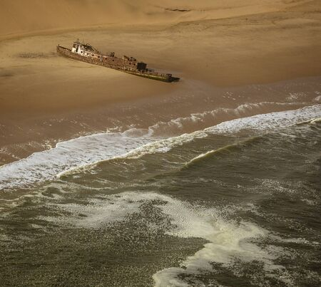 The Edwin Bolin is a famous shipwreck that has migrated 800 meters from the water in Namibia