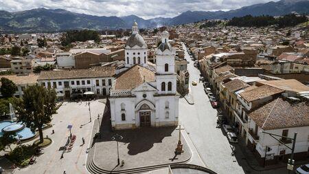 Sebastian, Ecuador - 2019-06-15 - Drrone aerial view of the monastery.