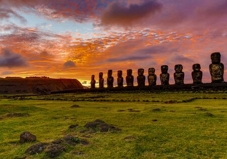 Moai on Easter Island at Ahu Tongariki at Sunrise.