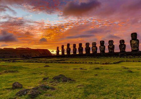 Moai on Easter Island at Ahu Tongariki at Sunrise.